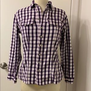 Guess fitted purple/white checkered shirt Size L